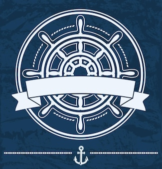 Ship steering wheel nautical corporate emblem with banner on blue grunge.
