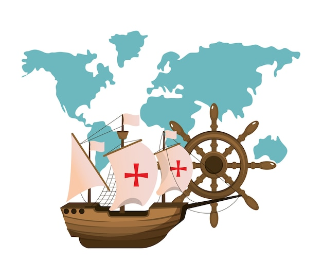 Судовой транспорт с глобальной картой и рулем