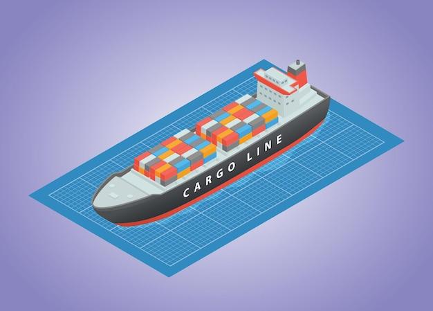 現代のアイソメトリックスタイルのベクトル図を使用した船舶輸送ビルド開発の青写真