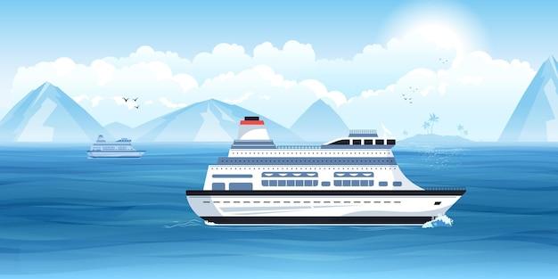 Корабль путешествует с горами позади