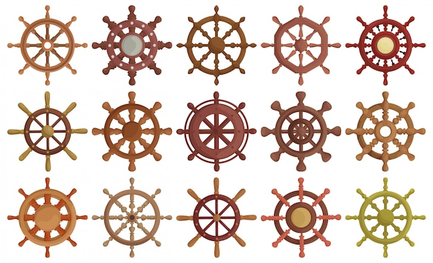 Ship wheel cartoon  set illustration of icon.cartoon  collection icon helm of sh[p. isolated illustration of set wheel boat on white background.