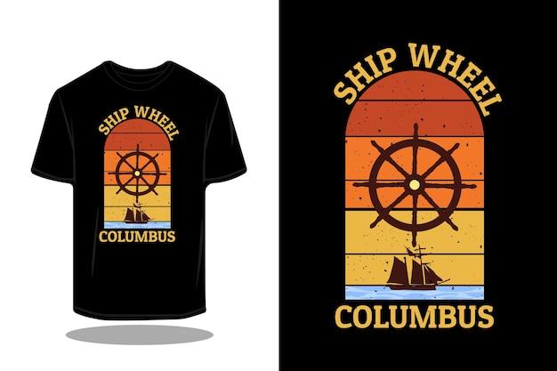 Ship wheel columbus retro silhouette design