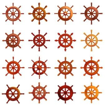 Ship wheel icons set, cartoon style