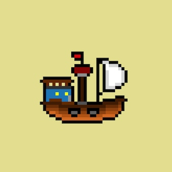 Ship with pixel art style