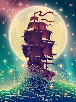 Корабль с парусами на синих волнах с брызгами воды в море над звездным небом.