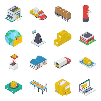 Shipment delivery isometric icons pack