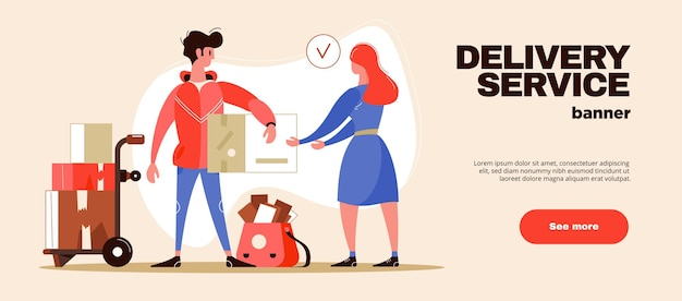 Shipment and delivery service web horizontal banner illustration