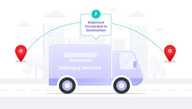 Shipment forwarded to destination on the way illustration.