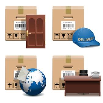 Shipment icons set isolated on white