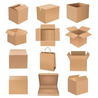 Shipping box big set isolated white background with gradient mesh