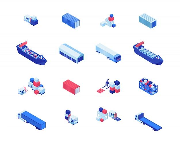 Доставка бизнес изометрические векторные иллюстрации набор. грузовые суда, складское хранение, погрузчики, перевозящие грузовые и грузовые автомобили. доставка морских грузов, элементы дизайна транспортной отрасли