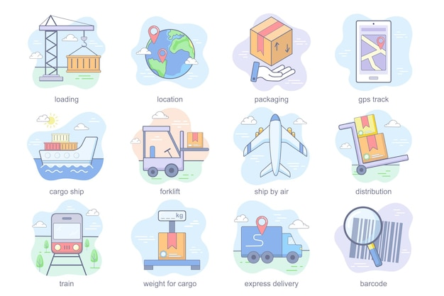 Shipping concept flat icons set bundle of loading location packaging gps track cargo ship forklift d...