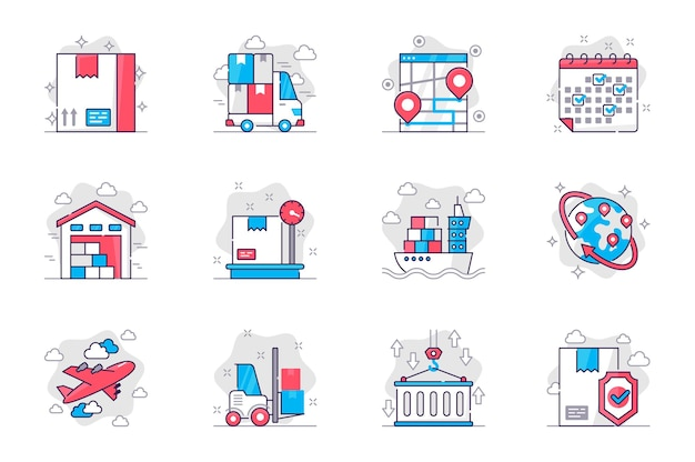 Shipping concept flat line icons set delivery service and logistics for mobile app