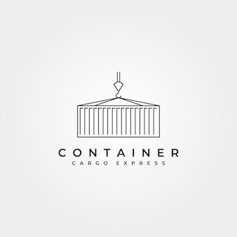 Shipping container line icon logo vector symbol illustration design, crane holding container minimalist vector logo design