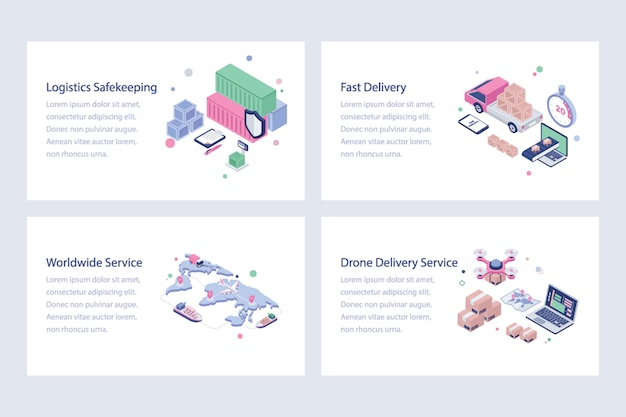 Shipping and delivery illustrations