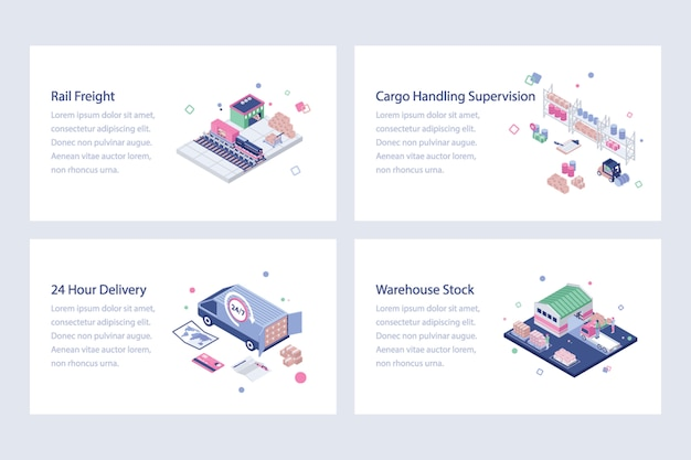Shipping and delivery isometric vectors