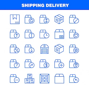 Shipping delivery line icon pack