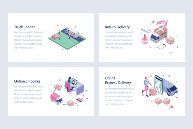 Shipping and delivery vector illustrations