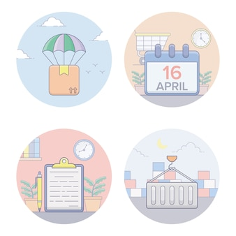 Shipping flat icons