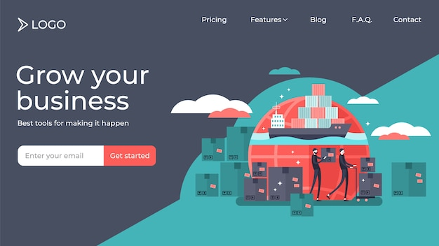 Shipping flat tiny persons illustration landing page template