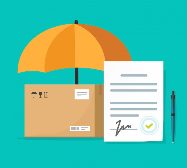 Shipping insurance contract or freight cargo delivery protection and coverage guaranty