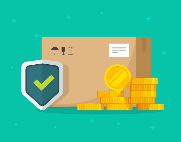 Shipping insurance of freight cargo delivery and parcel package transportation protection coverage financial guaranty care flat illustration
