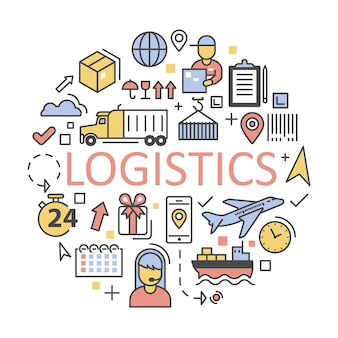 Shipping and logistics icons set delivery service.