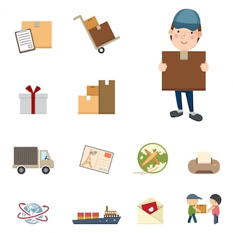 Shipping and logistics icons set