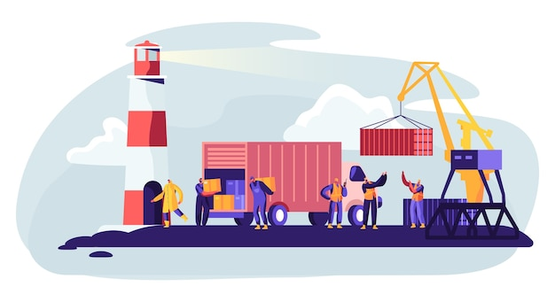 Shipping port with harbor crane loading containers to marine freight boat concept illustration