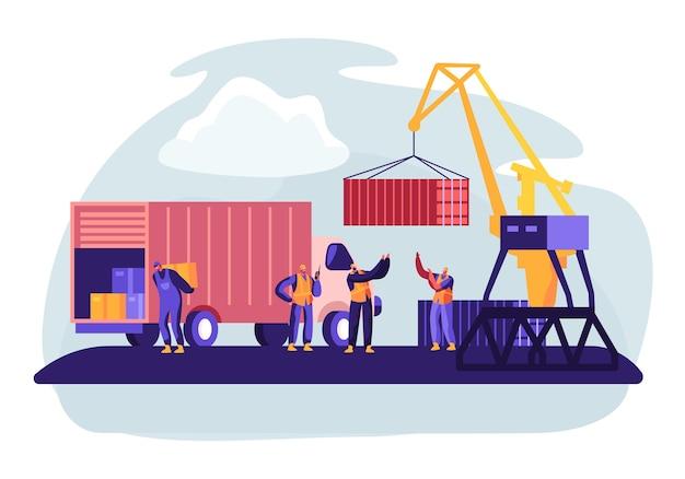 항구 크레인이있는 선적 컨테이너가 해상화물 보트에 컨테이너를 적재합니다. 컨셉 일러스트