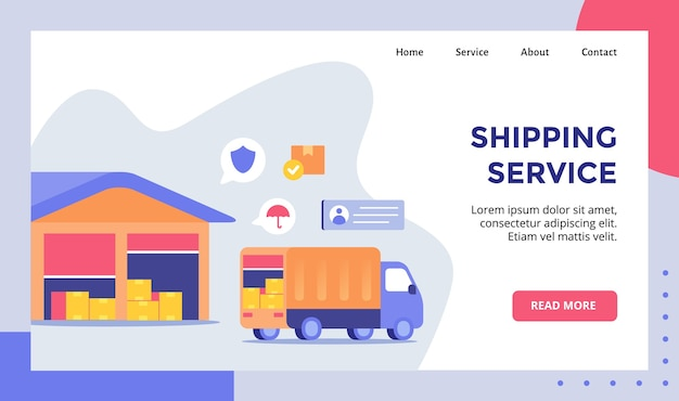 Shipping service truck delivery carry box package for web website home homepage landing page template