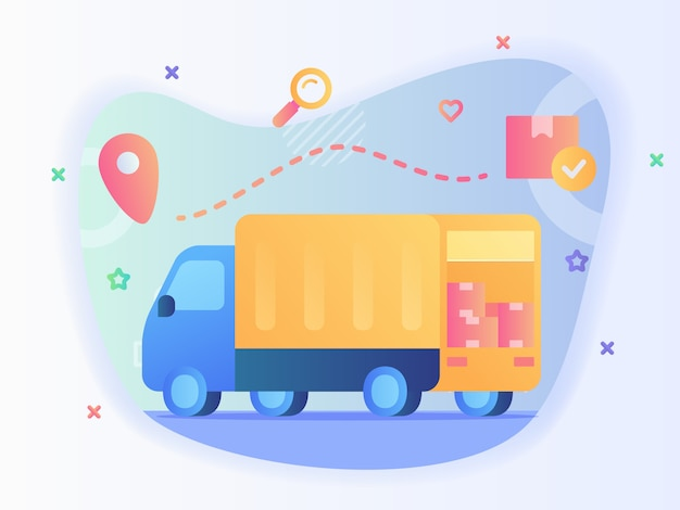 Shipping truck carry box package tracking location with flat style vector design