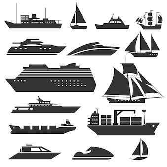 船とボート。はしけ、クルーズ船、船積み、漁船の標識。船舶のイラストの黒いシルエット