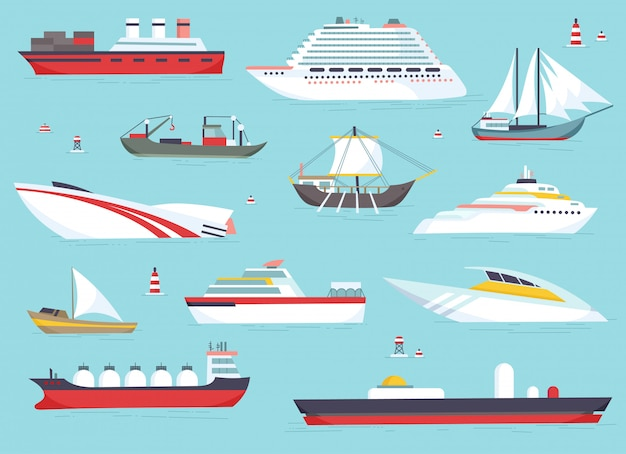 바다, 배송 보트, 바다 운송 벡터 아이콘 세트에서 배송.