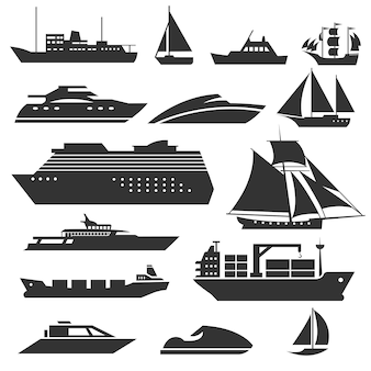 Ships and boats . barge, cruise ship, shipping and fishing boat  signs. black silhouette of marine vehicles illustration