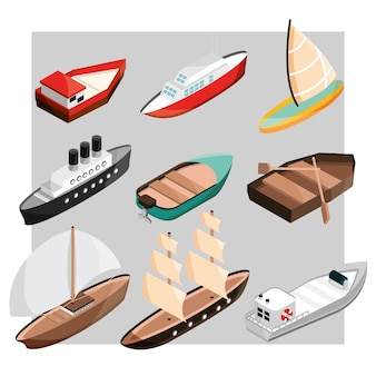 Ships and boats of different size