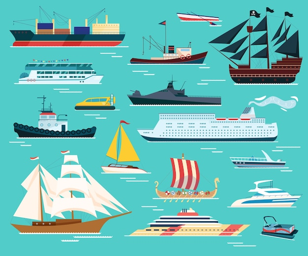 Ships and boats isolated set of illustrations