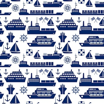 Ships and boats marine seamless background pattern with silhouette vector icons of a cruise liner  yacht  sailboat  container ship  tanker  freighter  anchor  semaphore flags  ships wheel  square