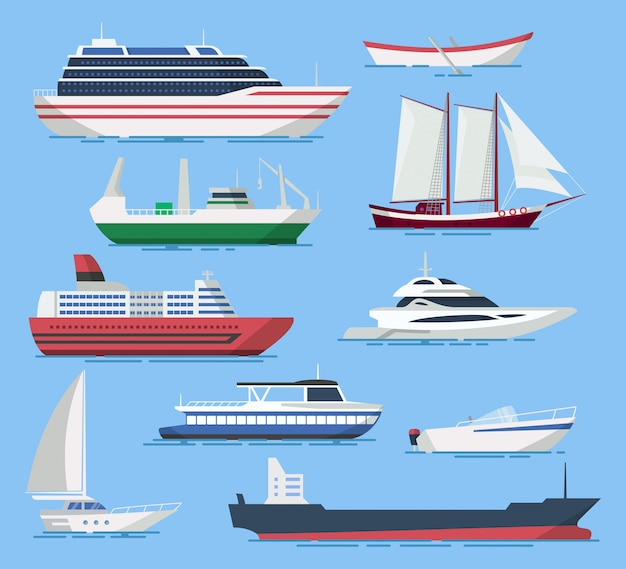 Ships and boats set in a flat style