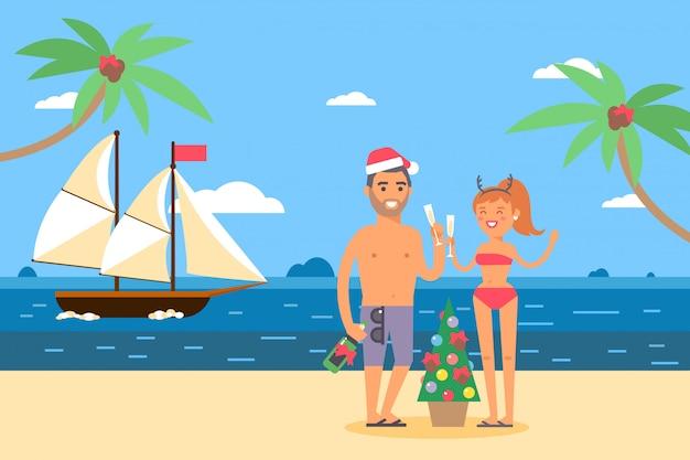 Ships in bottles weekend on tropical island,  illustration. sailing ship near ocean shore, cartoon quiet harbor, couple