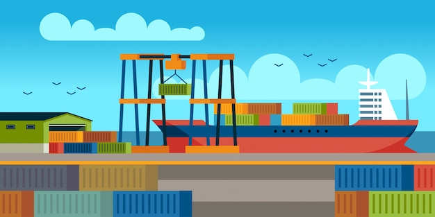 Ships in dock. loading containers on cargo ship in seaport industrial terminal. marine cargos transportation flat vector concept