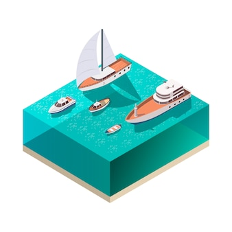 Ships isometric composition