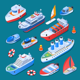 Ships isometric elements isolated