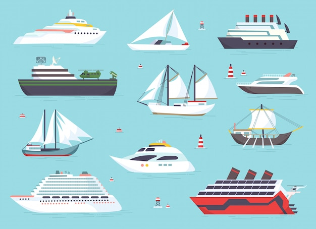 Ships at sea, shipping boats, ocean transport icons set