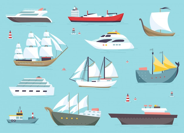 Ships at sea, shipping boats, ocean transport set.