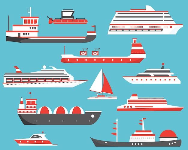 船セット。石油タンカー、ヨット、ばら積み貨物船、ガスタンカー、客船。ベクトルイラスト。