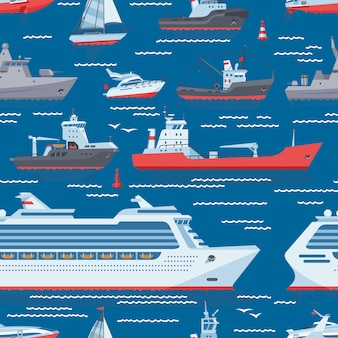 Ships vector boats or cruise travelling in ocean or sea shipping transportation