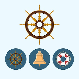 Ships wheel, set with 3 round colorful icons, bell, lifebuoy , vector illustration