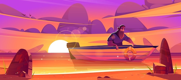 Shipwrecked sad man sit in wooden boat at sunset