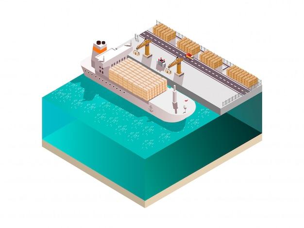 Состав верфи с изометрическим изображением морских крановых башен грузового терминала, загружающих контейнеры на грузовой корабль, векторная иллюстрация